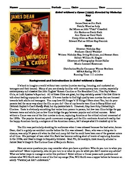 Rebel without a Cause Film (1955) Study Guide Movie Packet