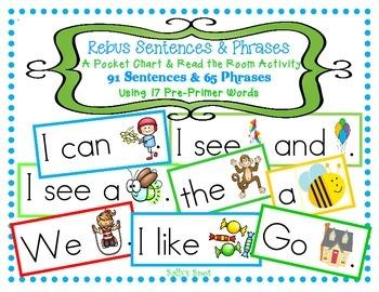91 Rebus Sentences & 65 Phrases Using 18 Pre-Primer Words