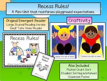 Recess Rules! Emergent Reader & Craftivity Pack