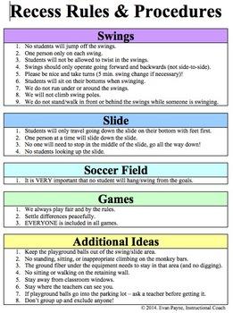 Recess Rules & Procedures