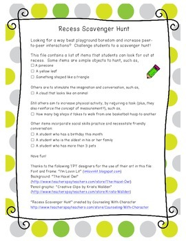 Recess Scavenger Hunt: Using Play to Boost Social Skills a