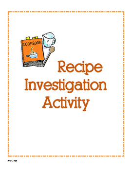 Recipe Investigation Activity - Fractions