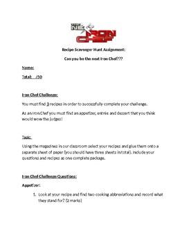 Recipe Scavenger Hunt Assignment