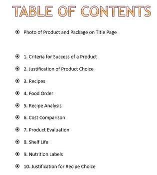 Recipe Testing and Evaluation Design Folio Template
