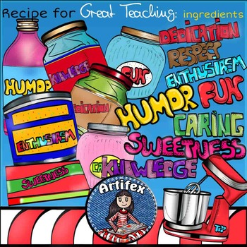 Recipe for Great Teaching clip art. Color and B&W.  1000 f