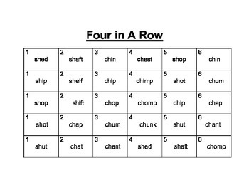 Recipe for Reading Four In A Row: sh/ch