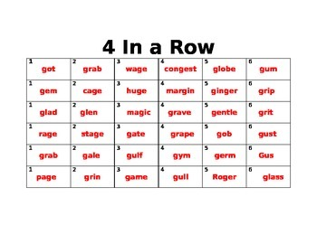 Recipe for Reading: Soft G and Hard G Four-In-A-Row
