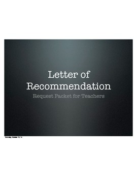 Letter of Recommendation Help Packet