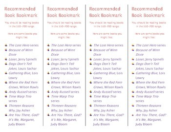 Recommended Book Bookmark based on Lexile Level 550-700