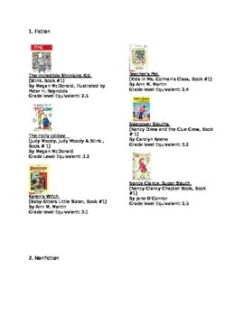 Recommended Book List with Pictures, Reading Levels, Ficti