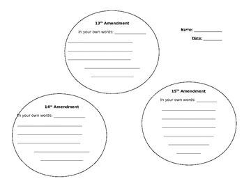 Reconstruction Amendments Worksheet