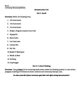 Reconstruction Review Sheet