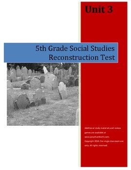 Reconstruction Test AND Completed Study Guide--5th Grade S