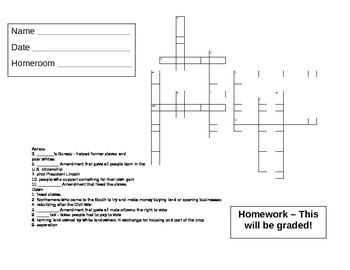 Reconstruction Word Search