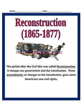 Reconstruction after the Civil War STUDY GUIDE- 5th Social