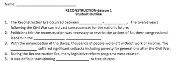 """Reconstruction:STUDENT OUTLINE&Key-Worksheets-Use w/""""Recon"""