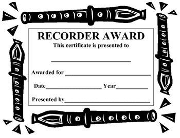 Recorder Award/Certificate