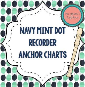 Recorder Fingering Anchor Charts {Navy Mint Dot Theme}
