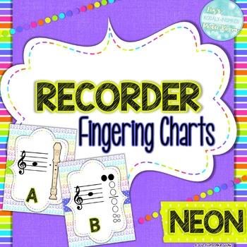 Recorder Fingering Charts: Neon