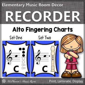 Recorder Fingering Charts for Alto Recorder (blue)
