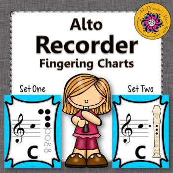 Recorder Fingering Charts for Alto Recorder (light blue)
