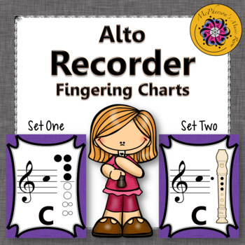 Recorder Fingering Charts for Alto Recorder (purple)