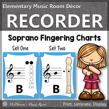Recorder Fingering Charts for Soprano Recorder (light blue)