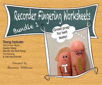 Recorder Fingering Practice Worksheets - Bundle