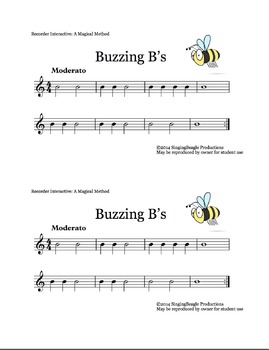 Recorder Interactive: Buzzing B's, a single-note song with