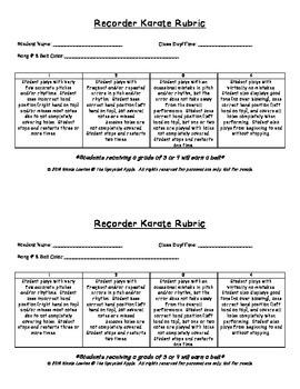 Recorder Karate Belt Testing Rubric