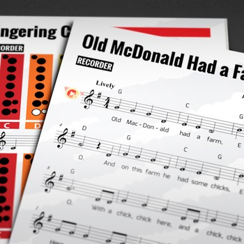 RECORDER SHEET MUSIC: Old McDonald Had a Farm with FINGERI