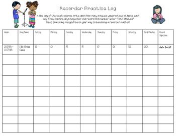Recorder Practice Log