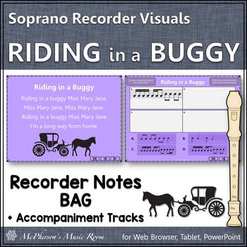 "Recorder Song ""Riding in a Buggy"" (Notes BAG) - soprano re"