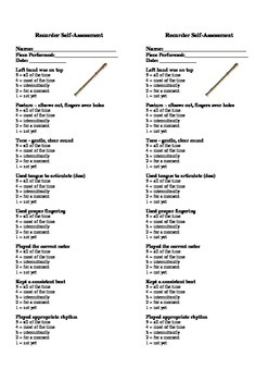 Recorder Self-Assessment (2 per page)