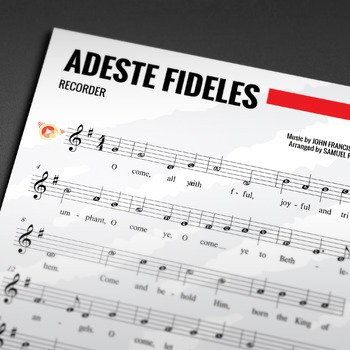 Recorder Sheet Music: Adeste Fideles - Christmas Carol