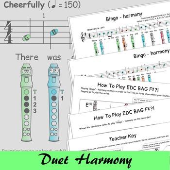 Recorder Sheet Music - Bingo Duet - Digital Print