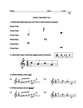 Recorder Test grade 3
