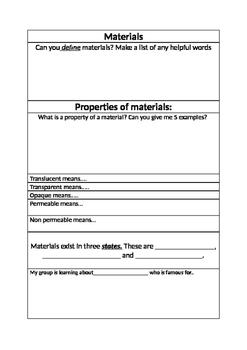 Recording Sheet for Materials exploration