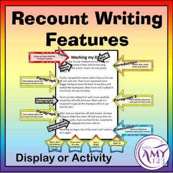Recount Writing Features - Display or Activity