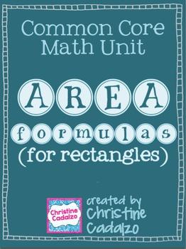 Area Formulas for Rectangles - Math Unit