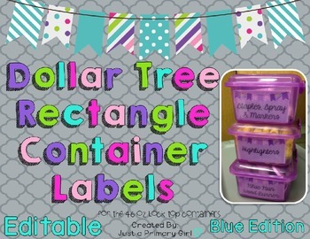 Rectangle Dollar Tree Container Labels for 46 Lock Top - B