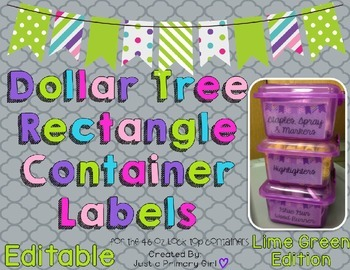 Rectangle Dollar Tree Container Labels for 46oz Lock Top -