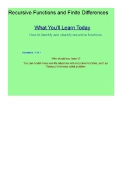Recursive Functions and Finite Differences SmartBoard Lesson