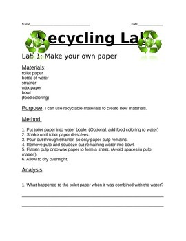 Recycle Lab- Conserve Natural Resources