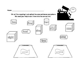 Recycle Trash Kindergarten Math Words to Numerals 1-10