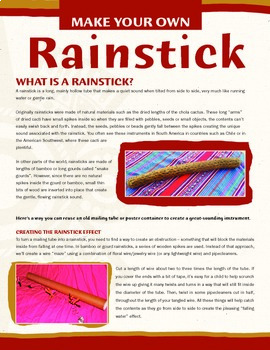 Recycled Rainstick – Background of Instrument and MYO Craft