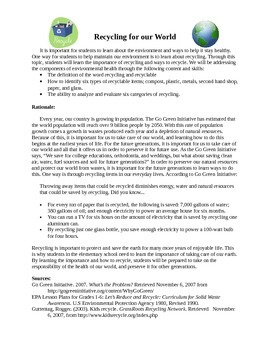 Recycling Lesson Plans for Language Arts, Math, Science, a