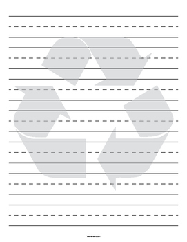 Recycling Symbol Background Primary Lined Paper