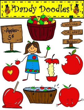 Red Apple Fun Clip Art by Dandy Doodles