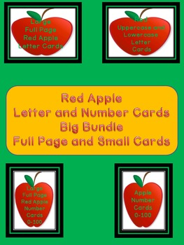 Red Apple Letter and Number Flashcards and Posters Bundle